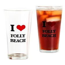 I Love Folly Beach Drinking Glass