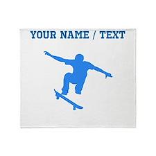 Custom Blue Skateboarder Throw Blanket