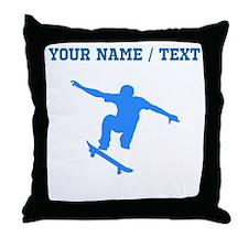 Custom Blue Skateboarder Throw Pillow