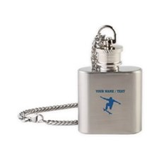 Custom Blue Skateboarder Flask Necklace