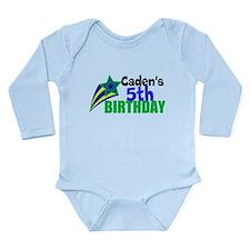 Custom Blue Star Long Sleeve Infant Bodysuit