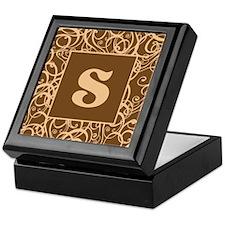 Brown Personalized Monogram Initial Keepsake Box