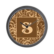 Brown Personalized Monogram Initial Wall Clock