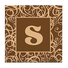 Brown Personalized Monogram Initial Tile Coaster