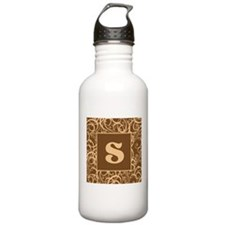 Brown Personalized Monogram Initial Water Bottle