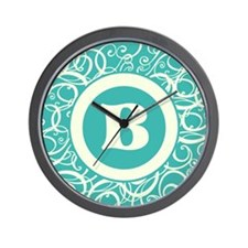 Blue Personalized Monogram Initial Wall Clock