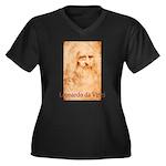 Leonardo da Vinci Women's Plus Size V-Neck Dark T-