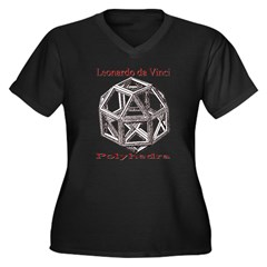 Polyhedra Women's Plus Size V-Neck Dark T-Shirt