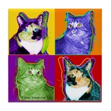 Cool Cat Art Tile Coaster