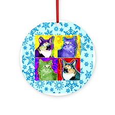 Cool Cat Art Round Ornament