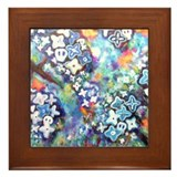Bickman 'Blue Trees' Framed Tile