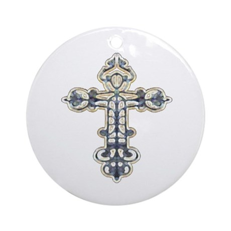 Ornate Cross Ornament (Round)