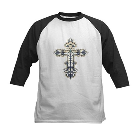 Ornate Cross Kids Baseball Jersey