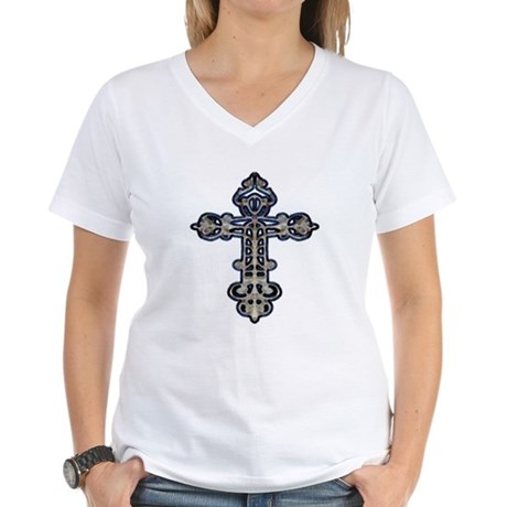 Ornate Cross Women's V-Neck T-Shirt