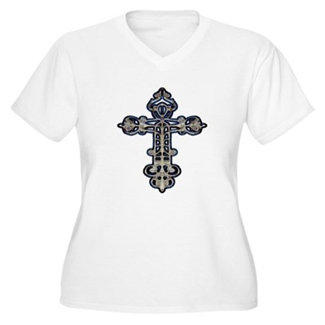 Ornate Cross Women's Plus Size V-Neck T-Shirt