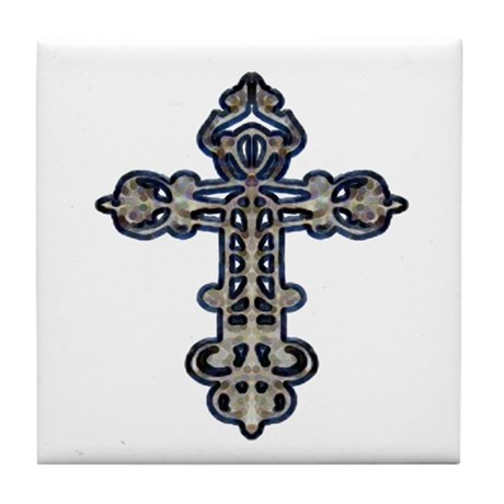 Ornate Cross Tile Coaster