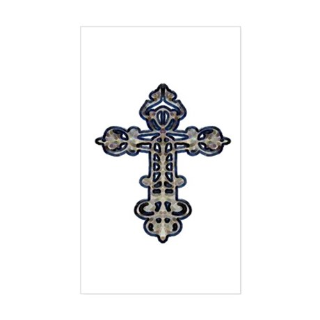Ornate Cross Rectangle Sticker