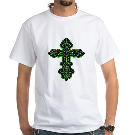 Ornate Cross White T-Shirt