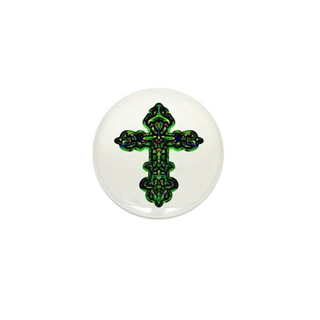 Ornate Cross Mini Button (100 pack)