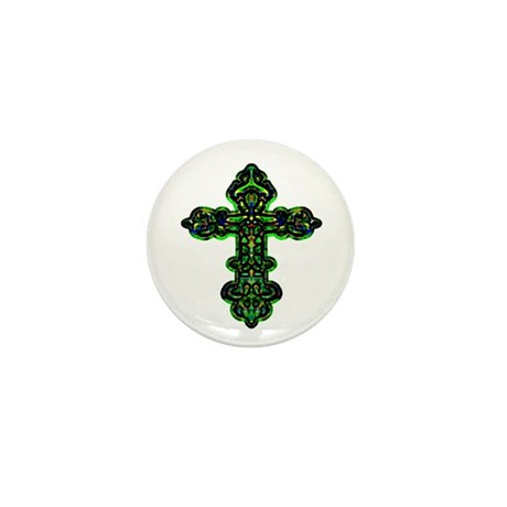 Ornate Cross Mini Button