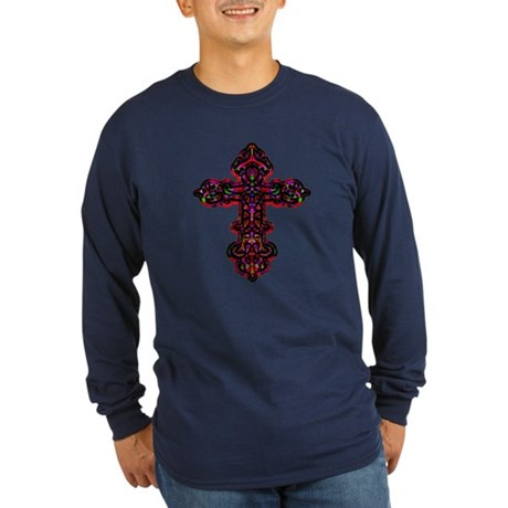 Ornate Cross Long Sleeve Dark T-Shirt