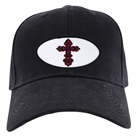 Ornate Cross Black Cap
