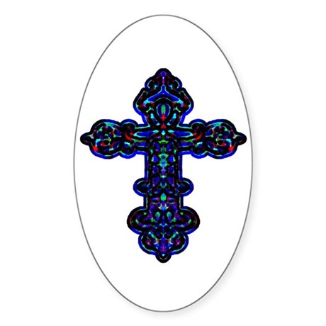 Ornate Cross Oval Sticker