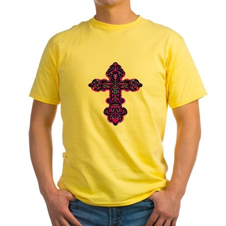 Ornate Cross Yellow T-Shirt