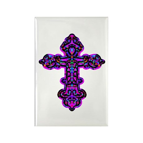 Ornate Cross Rectangle Magnet
