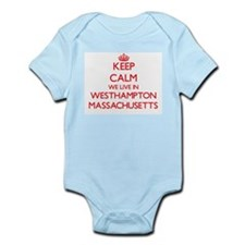 Keep calm we live in Westhampton Massach Body Suit