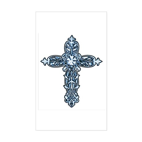 Victorian Cross Rectangle Sticker