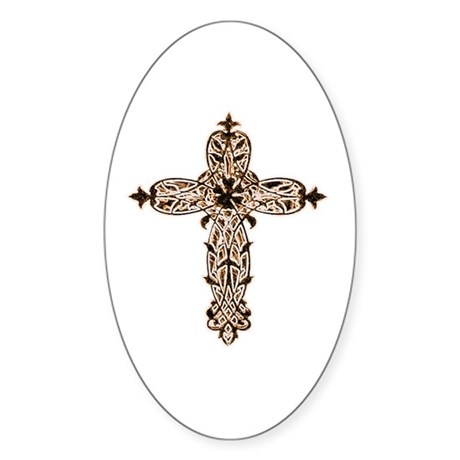 Victorian Cross Oval Sticker