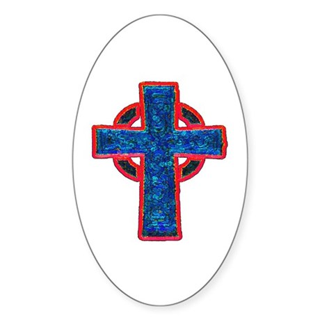 Celtic Cross Oval Sticker