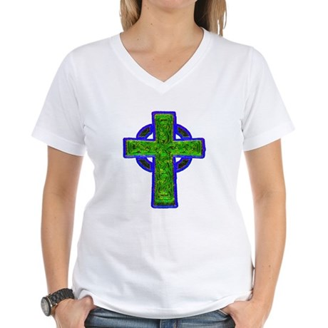 Celtic Cross Women's V-Neck T-Shirt