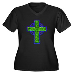 Celtic Cross Women's Plus Size V-Neck Dark T-Shirt