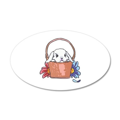SPRING BUNNY IN BASKET Wall Decal