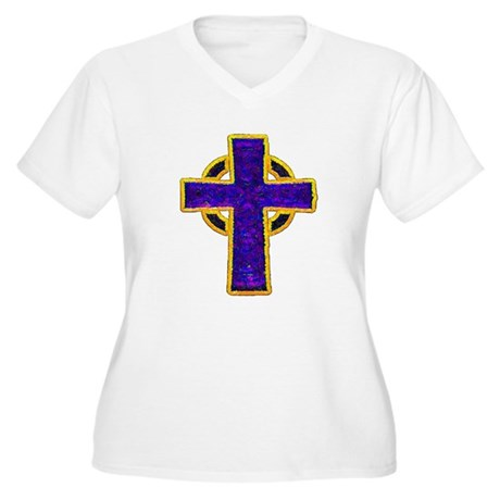 Celtic Cross Women's Plus Size V-Neck T-Shirt