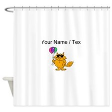 Custom Cat With Balloons Shower Curtain