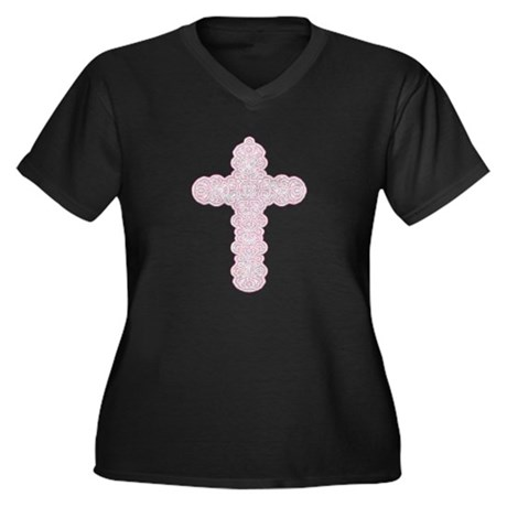 Pastel Cross Women's Plus Size V-Neck Dark T-Shirt