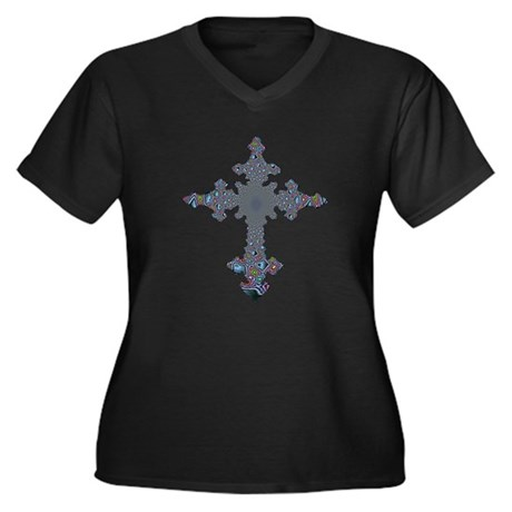 Jewel Cross Women's Plus Size V-Neck Dark T-Shirt