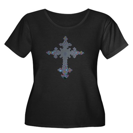 Jewel Cross Women's Plus Size Scoop Neck Dark T-Sh
