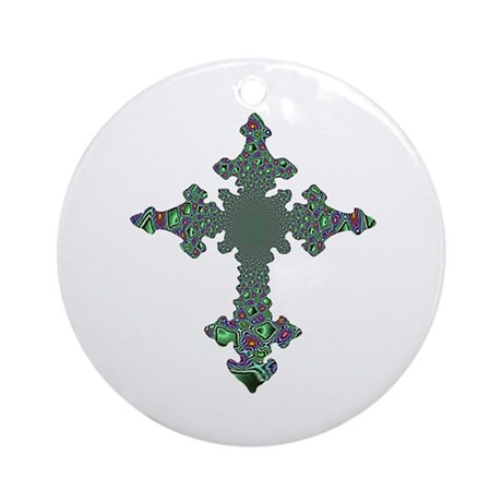 Jewel Cross Ornament (Round)