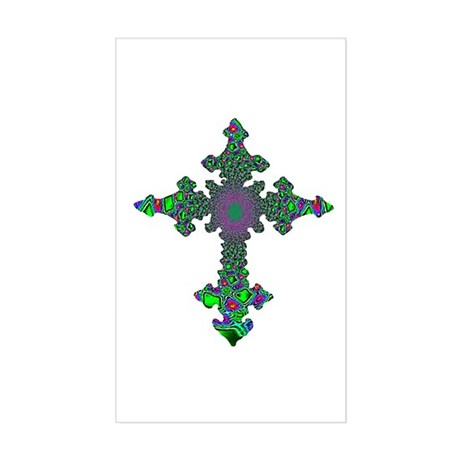 Jewel Cross Rectangle Sticker