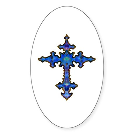 Jewel Cross Oval Sticker