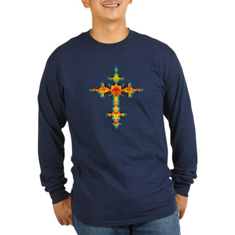 Jewel Cross Long Sleeve Dark T-Shirt