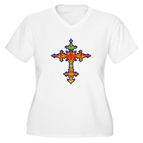 Jewel Cross Women's Plus Size V-Neck T-Shirt