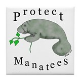 Protect Manatees Tile Coaster