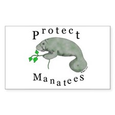 Protect Manatees Rectangle Decal