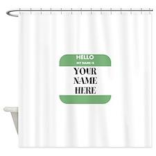 Custom Green Name Tag Shower Curtain