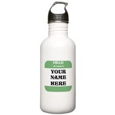 Custom Green Name Tag Water Bottle